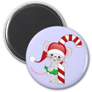 Bastón de caramelo del ratón del navidad imán de frigorifico