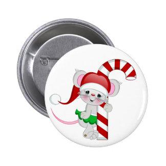 Bastón de caramelo del ratón del navidad pin redondo de 2 pulgadas