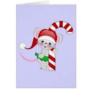 Bastón de caramelo del ratón del navidad tarjetas