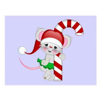 Bastón de caramelo del ratón del navidad tarjeta postal
