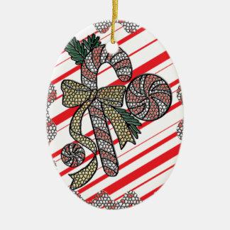 Bastón de caramelo del vitral adorno navideño ovalado de cerámica