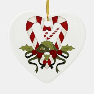 Bastón de caramelo lindo estamos contando con el adorno navideño de cerámica en forma de corazón
