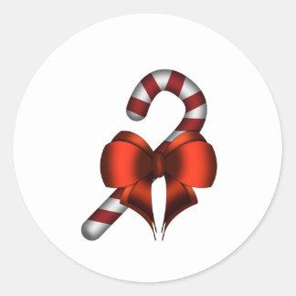 bastón de caramelo + nudo pegatina redonda
