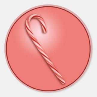 Bastón de caramelo pegatina redonda