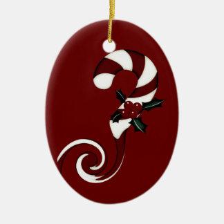 Bastón de caramelo rayado rojo y blanco con remoli ornamentos de reyes