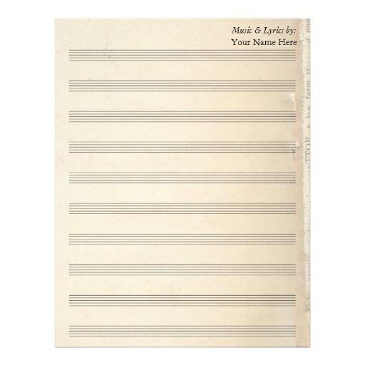 Bastón de la partitura 10 del espacio en blanco de membretes personalizados