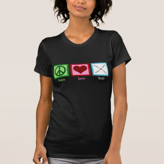 Bastón del amor de la paz que gira camisetas