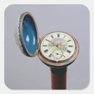 Bastón del artilugio del reloj esmalte del cloiso pegatinas cuadradas