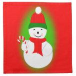 Bastón del muñeco de nieve y de caramelo servilleta de papel