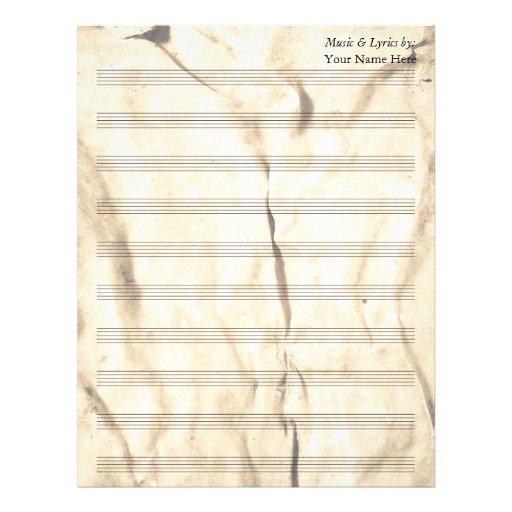 Bastón en blanco arrugado sepia de la partitura 10 membrete
