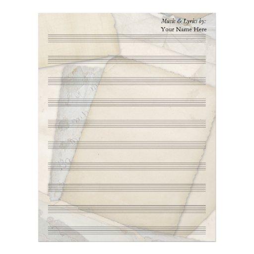 Bastón en blanco de la partitura 10 de los papeles membrete a diseño
