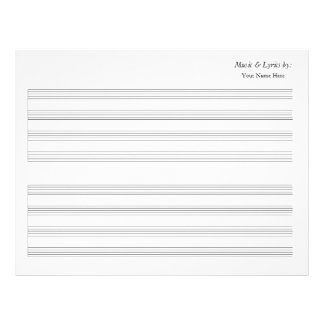 Bastón en blanco de la partitura 4 solo plantilla de membrete