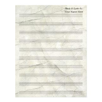Bastón en blanco de papel arrugado vintage de la membrete a diseño