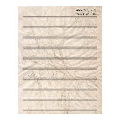 Bastón en blanco de papel sucio de la partitura 10 membrete personalizado