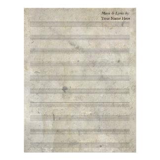 Bastón en blanco manchado viejo de la partitura 10 membretes personalizados