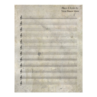 Bastón en blanco manchado viejo de la partitura 12 membretes personalizados