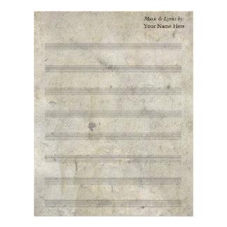 Bastón en blanco manchado viejo de la partitura 8 plantilla de membrete