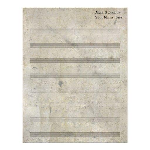 Bastón en blanco manchado viejo de la partitura 8  plantillas de membrete