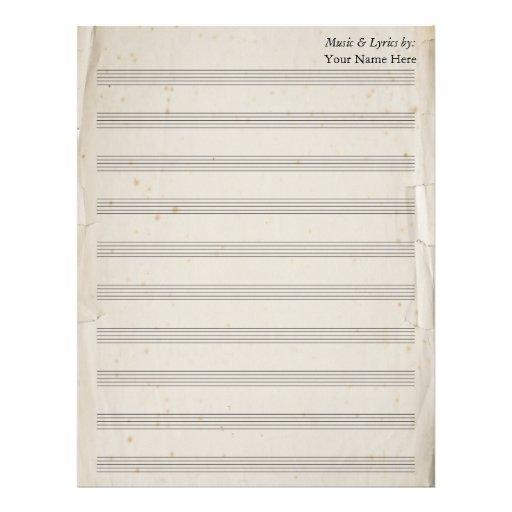 Bastón en blanco rasgado viejo de la partitura 10  membretes personalizados