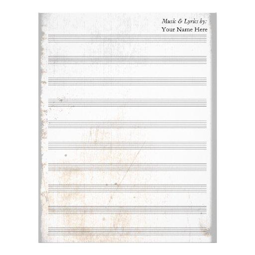 Bastón en blanco rasguñado viejo de la partitura 1 membretes personalizados