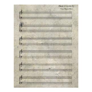 Bastón manchado viejo del piano 6 de la partitura plantillas de membrete
