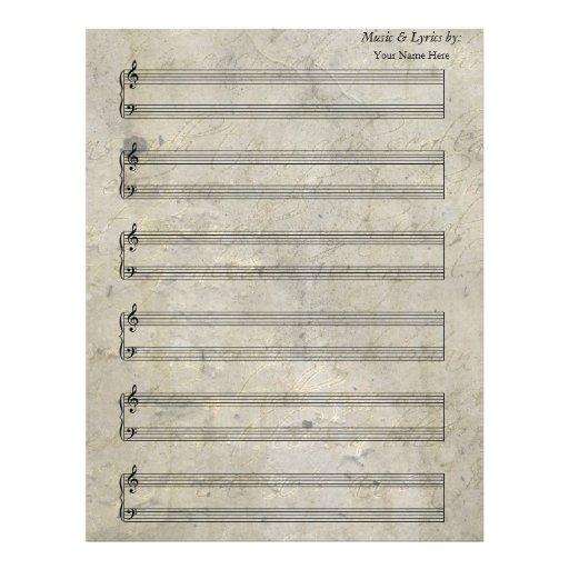 Bastón manchado viejo del piano 6 de la partitura  plantilla de membrete