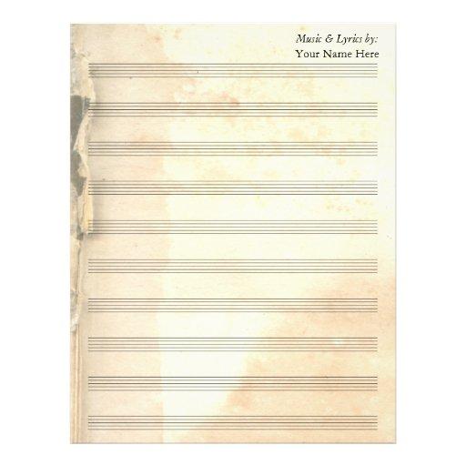 Bastón rasgado vintage de la partitura 10 del espa membrete personalizado