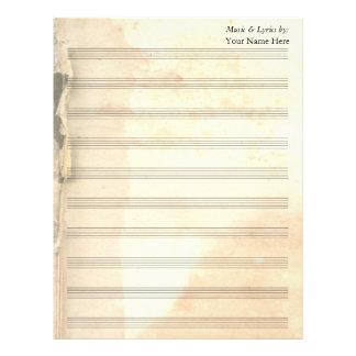 Bastón rasgado vintage de la partitura 10 del plantilla de membrete