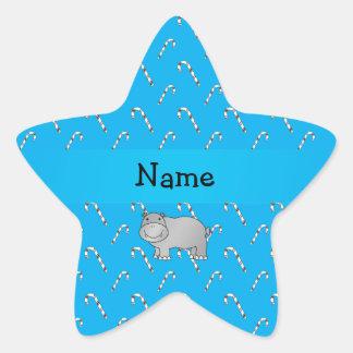 Bastones de caramelo azules personalizados del hip colcomanias forma de estrella