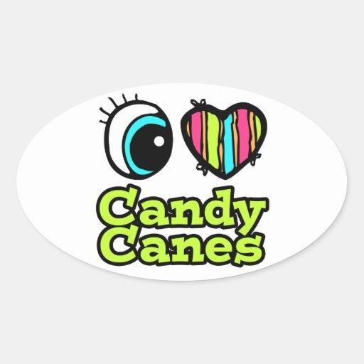 Bastones de caramelo brillantes del amor del pegatinas de oval personalizadas