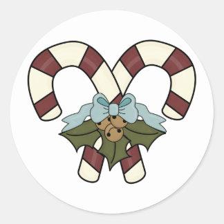 Bastones de caramelo decorativos pegatinas redondas