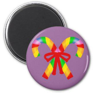 Bastones de caramelo del arco iris imán redondo 5 cm