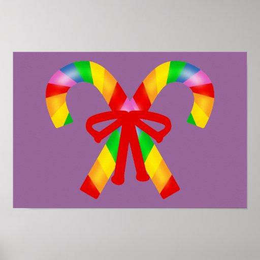 Bastones de caramelo del arco iris impresiones