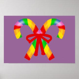 Bastones de caramelo del arco iris póster