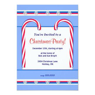 """Bastones de caramelo del navidad azules invitación 5"""" x 7"""""""