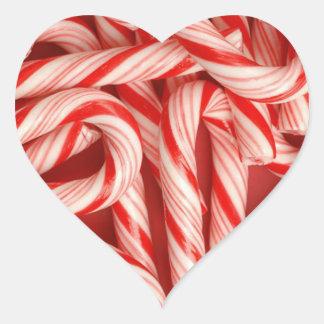Bastones de caramelo deliciosos de hierbabuena del pegatina corazon