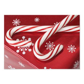 """Bastones de caramelo en presente invitación 5"""" x 7"""""""