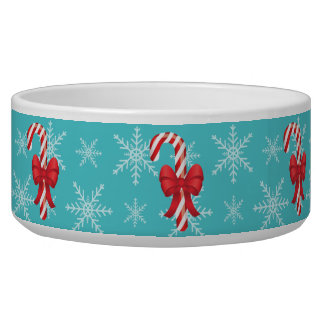 Bastones de caramelo festivos del navidad tazón para perro