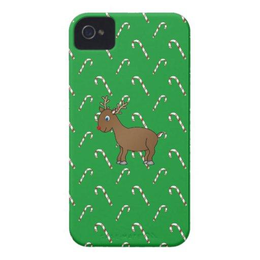 Bastones de caramelo lindos del verde del reno iPhone 4 funda