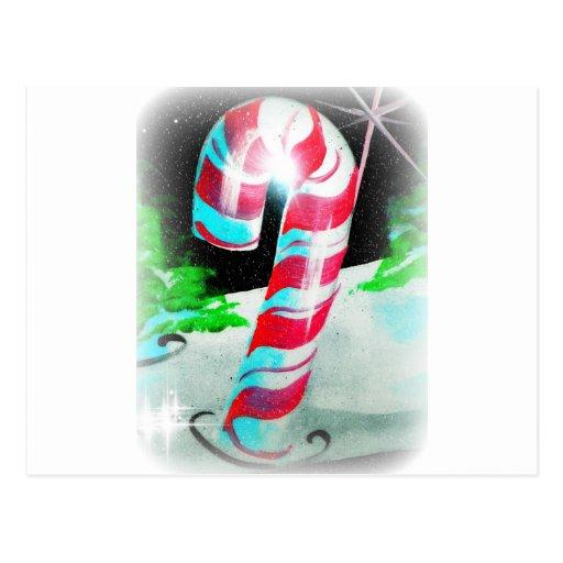 Bastones de caramelo pintados postales