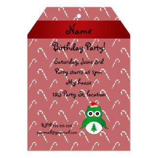 Bastones de caramelo rojos personalizados del búho invitación 12,7 x 17,8 cm
