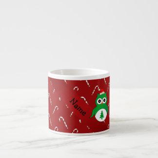 Bastones de caramelo rojos personalizados del búho tazita espresso