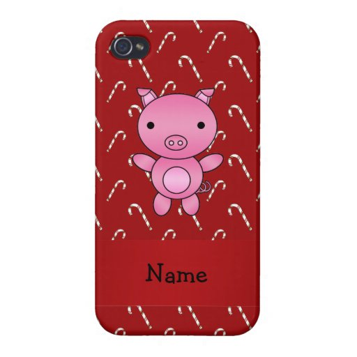 Bastones de caramelo rojos personalizados del cerd iPhone 4/4S carcasas