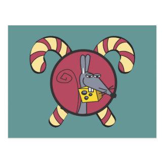 Bastones de caramelo y un ratón tarjeta postal