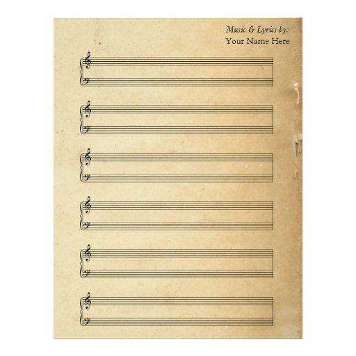 Bastones en blanco del piano de la partitura del v membrete personalizado