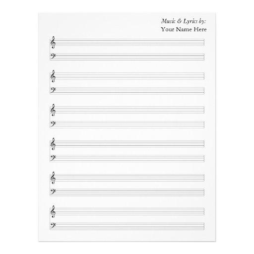 Bastones en blanco del piano de la partitura plantilla de membrete
