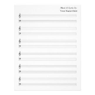 Bastones en blanco del piano de la partitura plantillas de membrete
