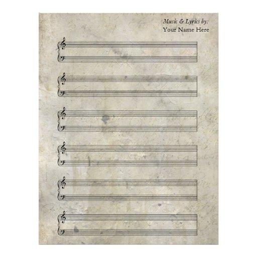 Bastones en blanco manchados viejos del piano de l membrete personalizado