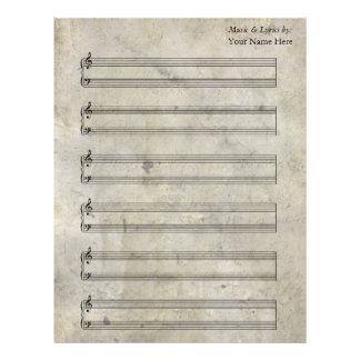 Bastones en blanco manchados viejos del piano de membrete personalizado