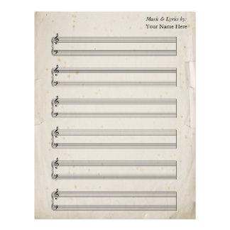 Bastones rasgados viejos del piano de la partitura membretes personalizados